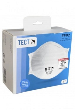 Tect FFP2 Masken ohne Ventil 3 Stk weiss Kopfschlaufe